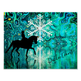 Reflections Dressage Horse, Rider Winter Snowflake Poster