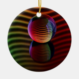 Reflections in the crystal ball ceramic ornament