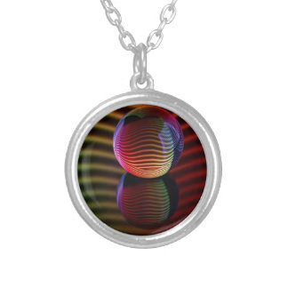 Reflections in the crystal ball silver plated necklace