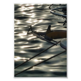 Reflections in the water of the port photo print