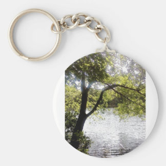 Reflections in the woods basic round button keychain