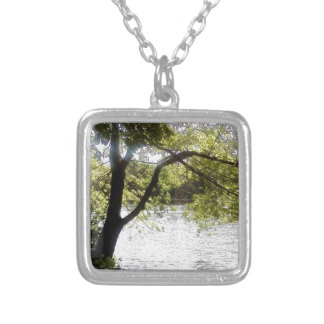 Reflections in the woods silver plated necklace