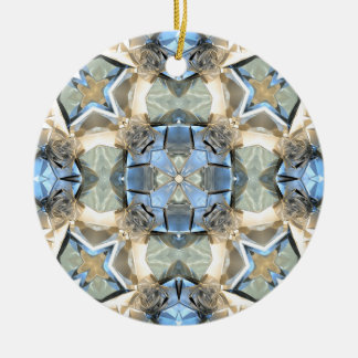 Reflections of Blue And Gold Ceramic Ornament