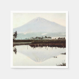 Reflections of Mt. Fuji in Old Japan Vintage Lake Disposable Napkin