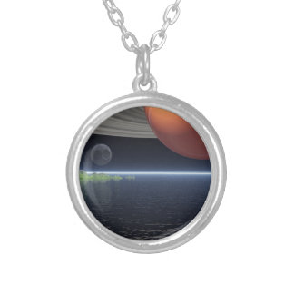 Reflections of Saturn Silver Plated Necklace