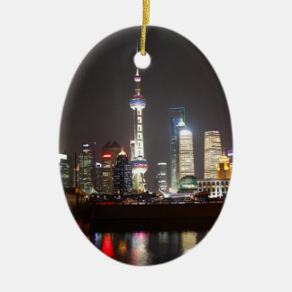 Reflections of Shanghai at Night Ceramic Ornament