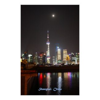 Reflections of Shanghai at Night Poster
