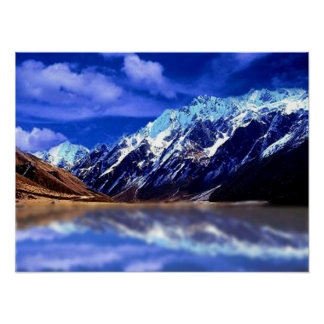 Reflections of snow capped mountain, poster