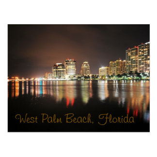 Reflections of West Palm Beach at night Postcard