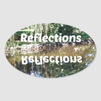 Reflections on water oval sticker