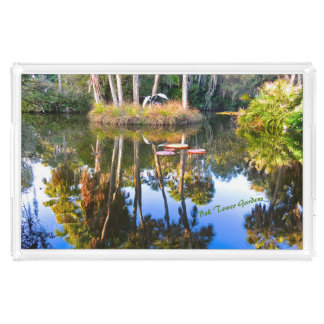 Reflections: Palms in the Pond Bok Tower Gardens Acrylic Tray