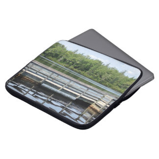 reflections wooden wharf and water laptop sleeve