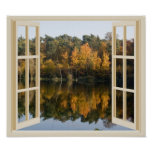 Reflective Autumn Lake Fall Trees Window View Poster