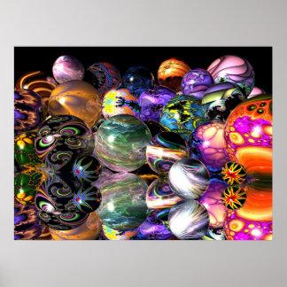 Reflective Fractal Spheres Poster