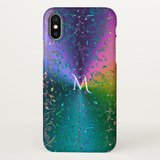 Reflective Rainbow Music Notes Monogram iPhone X Case