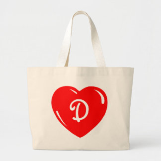 Reflective Red Monogrammed Heart Large Tote Bag