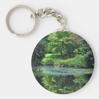 Reflective spring pond basic round button keychain