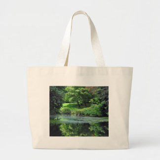 Reflective spring pond large tote bag