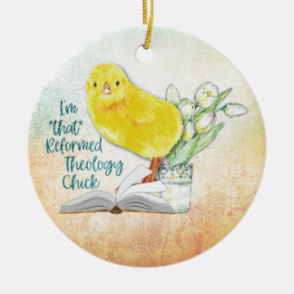 """""""Reformed Theology Chick"""" Christmas Ornament"""
