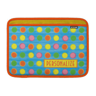 Refresh - Fruity Colorful Polka Dots on Aqua Blue Sleeves For MacBook Air