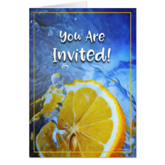 Refreshing Abstract Lemon & Ice Water Invitation