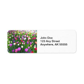 Refreshing Mixed Tulip Garden Return Address Label