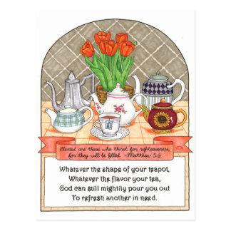 Refreshing Teapot Inspirational Postcard