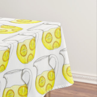 Refreshing Yellow Lemonade Lemon Ade Pitcher Drink Tablecloth