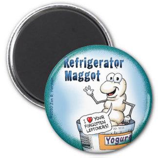 Refrigerator Maggot Magnet; the Round Version Magnet
