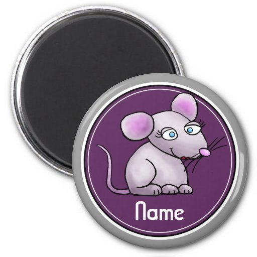 Refrigerator Magnet, Name Template, Cute Mouse