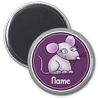 Refrigerator Magnet, Name Template, Cute Mouse 2 Inch Round Magnet