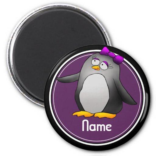 Refrigerator Magnet, Name Template, Cute Penguin