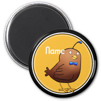 Refrigerator Magnet, Name Template, Cute Quail 2 Inch Round Magnet