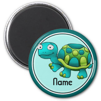 Refrigerator Magnet, Name Template, Cute Turtle 2 Inch Round Magnet