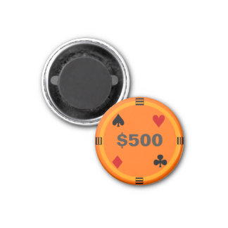 Refrigerator Poker TAG Playing Chip - $500 1 Inch Round Magnet