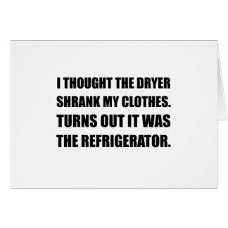 Refrigerator Shrank Clothes Card