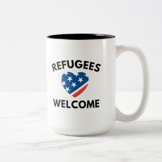 Refugees Welcome Two-Tone Coffee Mug