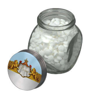 Regal Baby Blue Prince Baby Shower Candy and Mints Glass Jar