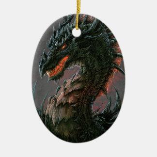 Regal Black Dragon Head - Full Colour Ceramic Ornament