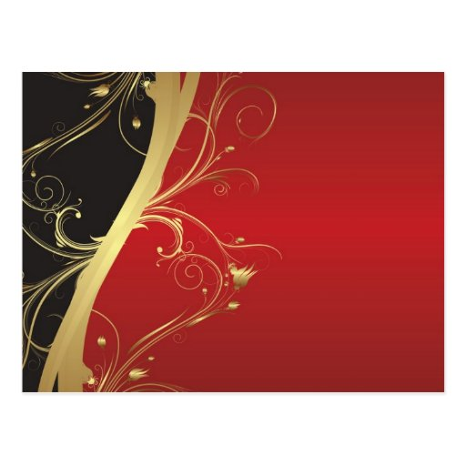 Regal Black, Gold and Red Postcards