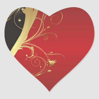 Regal Black, Gold and Red Heart Sticker