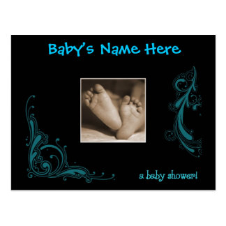 Regal Blue Baby Boy Shower Invitation Postcard