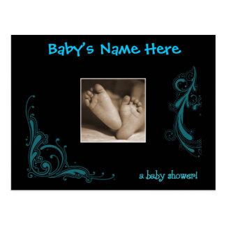 Regal Blue Baby Boy Shower Invitation Postcards