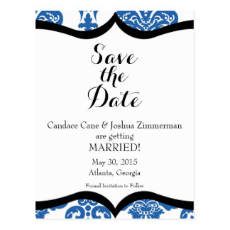 Regal Blue Damask Save the Date Postcard