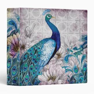 "Regal Blue Peacock & Floral Binder 1.5"" Binder"