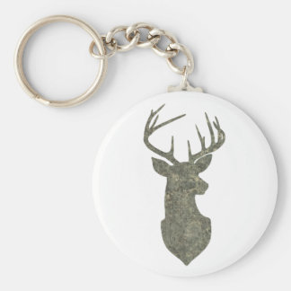 Regal Buck Trophy Deer Silhouette in Camouflage Basic Round Button Keychain