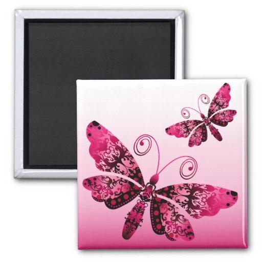 """Regal Butterfly"" (fuschia) by Cheryl Daniels Refrigerator Magnet"