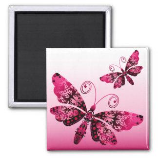 """Regal Butterfly"" (fuschia) by Cheryl Daniels Square Magnet"