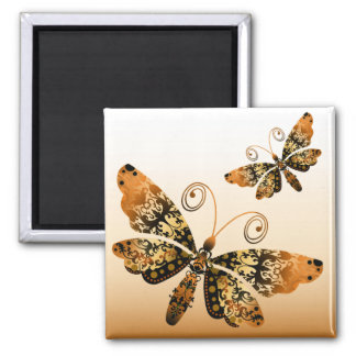 """Regal Butterfly"" (gold) by Cheryl Daniels Refrigerator Magnet"
