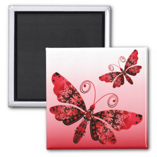 """Regal Butterfly"" (red) by Cheryl Daniels Fridge Magnets"
